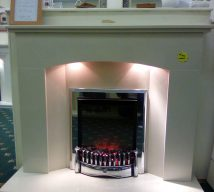 48 inch NEVADA NOW £395 IN BIANKA CREAM MARBLE FIRESURROUND, PANEL & HEARTH WITH LIGHTS (fire is optional and not included) EXDISPLAY