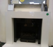 48 inch VALENCIA INGLE NOOK IN ARCTIC WHITE MARBLE SURROUND WITH SOLID GRANITE £950, ONLY SURROUND £495 EXDISPLAY