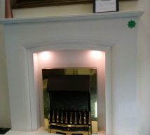 50 inch FELICIA NOW £595 WHITE MARBLE FIRESURROUND, PANEL & HEARTH WITH LIGHTS BY ELGIN & HALL fire is optional and not included in price) EXDISPLAY