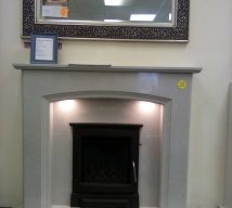 52 inch ELIANA NOW £655 MARBLE SURROUND, PANEL & HEARTH IN GREY FROM ELGIN & HALL WITH LIGHTS (fire is optional not included in price) EXDISPLAY