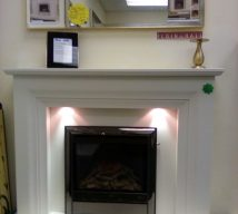 52inch VITALIA NOW £999 ALL MARBLE FIRE PLACE IN WHITE WITH LIGHTS & OPULENCE GAS FIRE FROM ELGIN & HALL EXDISPLAY