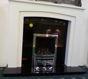 54 inch CHELSEA NOW £595 SOLID MARBLE FIRE SURROUND, SOLID GRANITE PANEL & HEARTH (fire is optional 8 not included in price) EXDISPLAY