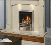 ALTON in BIANCA BEIGE solid marble £864. Price includes mantle, surround, back panel, hearth (available in ALL group B colours). Available in group A colours in solid marble for £852. Also made in group C colours. Lights £30.