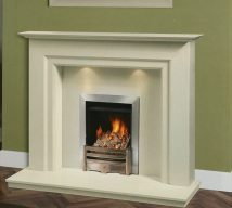 ASHLEY in BIANCA BEIGE solid marble £756. Price includes mantle, surround, back panel, hearth (available in ALL group B colours). Available in group A colours in solid marble for £726. Also made in group C colours. Lights £30.