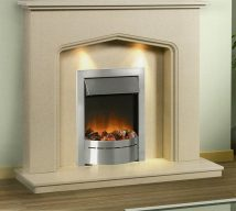 ATLANTA in BEIGE MARFIL solid marble £608. Price includes mantle, surround, back panel, hearth (available in ALL group A colours). Available in group B colours in solid marble for £642. Also made in group C colours. Lights £30.