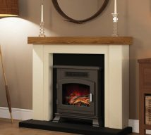 "46"" Bracken electric fireplace in Ivory and Anthracite finish with Country Oak top"