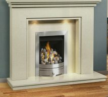 CAMBRIDGE in BIANKA BEIGE solid marble £642. Price includes mantle, surround, back panel, hearth (available in ALL group B colours). Available in group A colours in solid marble for £608. Also made in group C colours. Lights £30.