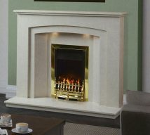CRISTINA in NACARADO solid marble £618. Price includes mantle, surround, back panel, hearth (available in ALL group B colours). Available in group A colours in solid marble for £588. Also made in group C colours. Lights £30.