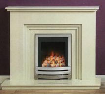 DORSET in BIANCA BEIGE solid marble £618. Price includes mantle, surround, back panel, hearth (available in ALL group B colours). Available in group A colours in solid marble for £588. Also made in group C colours.