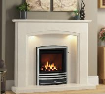 """ELGIN & HALL ELIANA 52"""" surround in Manila micro marble with Smartsense lights featuring a Be Modern Titanium gas fire with Cast trim in Chrome"""