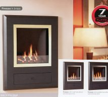 FINESSE in brass finish. Available in chrome finish and with coal or pebble fuel effect.