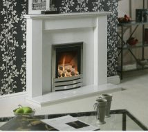 HEATHFIELD in ARCTIC WHITE solid marble £690. Price includes mantle, surround, back panel hearth (available in ALL group C colours). Available in group A colours in solid marble for £582. Also made in group B colours.