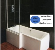 L Shape Shower Bath 1700x700mm (850mm at widest point)