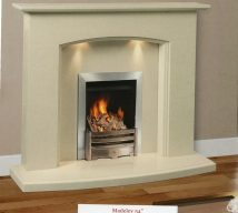 MADELEY in BIANCA BEIGE solid marble £792. Price includes-mantle, surround, back panel, hearth (available in ALL group B colours). Available in group A colours in solid marble for £762. Also in group C colours. Lights£30.