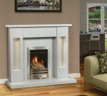 MELBOURNE in ARCTIC WHITE solid marble £762. Price includes mantle, surround, back panel, hearth (available in ALL group C colours). Available in group A colours in solid marble for £620. Also made in group B colours. Lights £30.