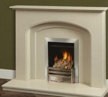 MORETON in BIANKA BEIGE solid marble £690. Price includes mantle, surround, back panel, hearth (available in ALL group B colours). Available in group A colours in solid marble for £620. Also made in group C colours.