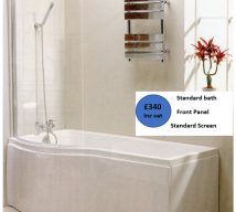 P Shape Shower Bath 1675x750mm