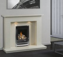 PALMA in BIANCA BEIGE solid marble £642. Price includes mantle, surround, back panel, hearth (available in ALL group B colours). Available in group A colours in solid marble for £608. Also made in group C colours. Lights £30.