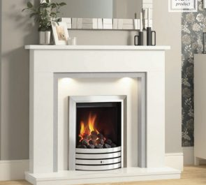 """48"""" Timara surround in White and Grey micro marble with Smartsense lights featuring an Exclusive gas fire in Chrome"""