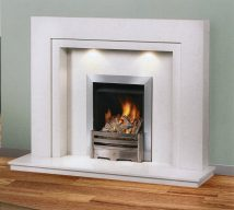 WESTMINSTER in BRANCO VEIOS solid marble £819. Price includes mantle, surround, back panel, hearth (available in ALL group C colours). Available in group A colours in solid marble for £636. Also made in group B colours. Lights £30.