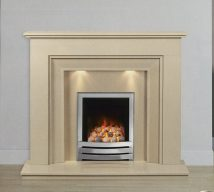 WHITMORE in BEIGE MARFIL solid marble £690. Price includes mantle, surround, back panel, hearth (available in ALL group A colours). Available in group B colours in solid marble for £418. Also made in group C colours. Lights £30.