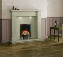WINDERMERE in BIANCA BEIGE solid marble £852. Price includes mantle, surround, back panel, hearth (available in ALL group B colours). Available in group A colours in solid marble for £840. Also made in group C colours. Lights £30.