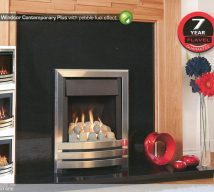 WINDSOR CONTEMPORARY PLUS with pebble fuel effect, slimline