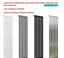 TORONTO VERTICAL RADIATOR IN MATT WHITE 1800mm(H) x 280mm(W) £ 99.00 incl. VAT
