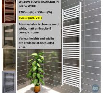 WILLOW GLOSS WHITE TOWEL RADIATOR 1200mm x 500mm £54.00 (incl. VAT)